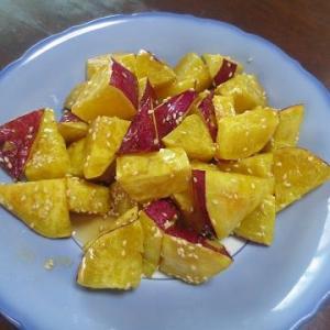 大学芋、ヒガンバナ(赤、黄色)
