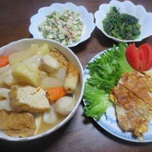 今日の夕食(キスの天ぷら、ピカタ)等