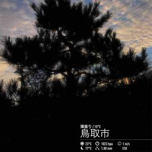 2019年10月18日(金)午前7時の気温14.0度、湿度84%、鳥取市滝山の秋の朝です。写真は6時台の撮影です。