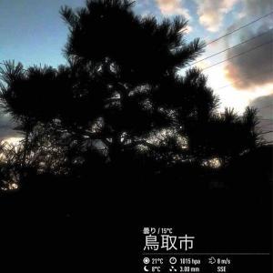 201911月18日(月)年午前6時の気温18.4度、湿度74%、風強く雲が多い鳥取市滝山の朝です。 日の出が6時40分を回るようになりました。