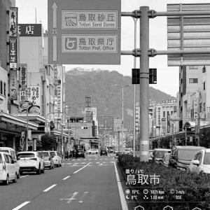 2020年2月25日(火)午前5時の気温5.2度、湿度90%、鳥取市滝山の夜明け前です。 写真は過日の鳥取駅前から望む久松山です。