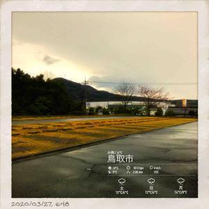 2020年3月27日(金)午前6時の気温16.6度、湿度82%、暖かく雨降りで迎える鳥取市若葉台の朝です。