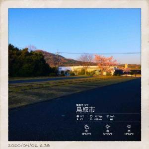 2020年4月6日(月)午前6時の気温4.0度、湿度64%、雲一つない快晴でむかえる鳥取市若葉台の朝です。