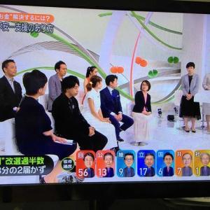 参議院選挙、自民、公明、日本維新の改憲勢力3分の2届かず