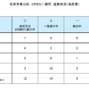 選挙公約の進捗状況についての、石井市長の自己評価が市HPに掲載されています。というわけで、それに絡めて代表質問のご報告をば。