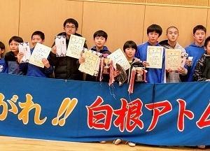 新津大会結果、1年男子1位くまさん、2位I口、3位ON塚とオーイ、2年男子2位ポッチャリ、2年女子1位カズサ!