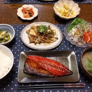 【晩ごはん】お魚の日。サバみりん。