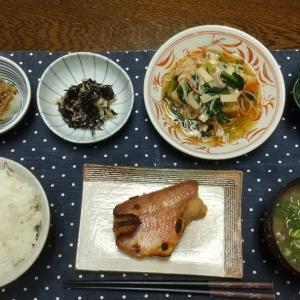 【晩ごはん】赤魚の塩糀味噌漬け、揚げ豆腐のカニ野菜あんかけ。