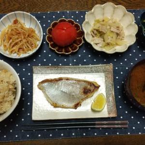 【晩ごはん】鯛の塩糀漬け、焼ききのこの炊き込みごはん。