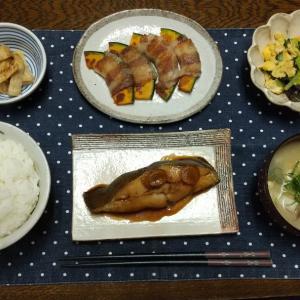 【晩ごはん】カラスカレイの煮付け、南瓜の豚バラ巻き。