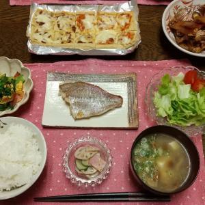 【晩ごはん】鯛の塩焼き、あら焚きで和食ごはん。
