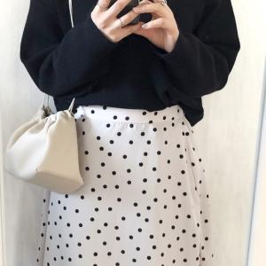 GUニットにドットスカート♡