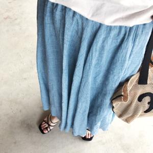 今日のコーデ♡リネンフレアスカート