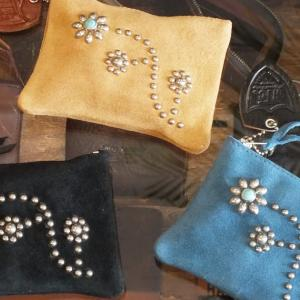 HTC SUEDE POUCH WALLET #125 FLOWER TURQUOISE