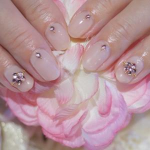 ピンク フラワービジュー シアーピンク ネイル