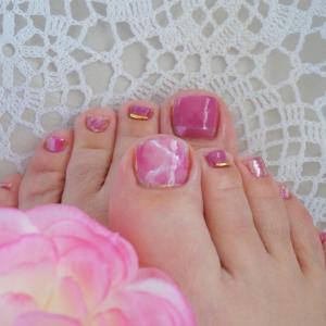 ピンク天然石 ミラーアート カーブスティック ペディキュア ネイル