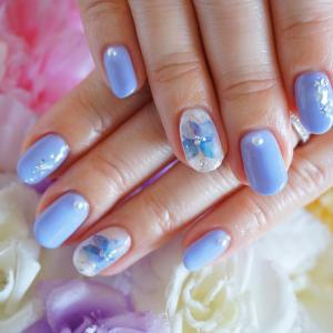 紫陽花フラワーアート シェル金箔 アイスブルー ネイル