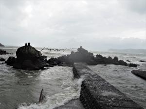 嵐の後の「橘湾」