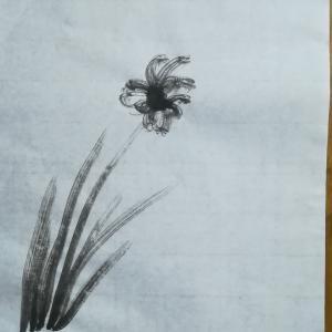 ぷー画伯 初の水墨画