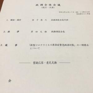 自民党政調全体会議で修正版「緊急経済対策」を議論