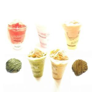 ソルベージュ®日本茶ミルクティー加賀棒ほうじ茶&加賀棒ほうじ茶のモンブラン・八女抹茶のモンブラン(わらび餅入り)