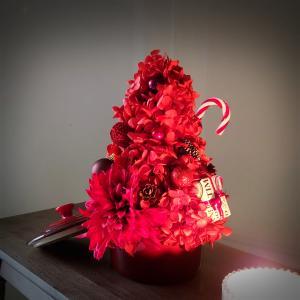 赤いココットツリーとピンクのリボンブローチを製作 ~11/21オンライン手芸カフェ開催レポート