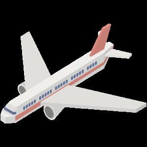 立体的な赤い飛行機のイラスト