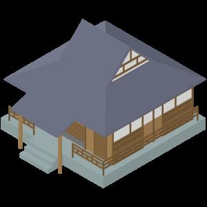 立体的な寺のイラスト