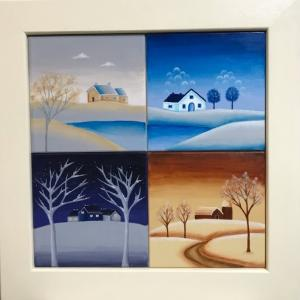 トールペイントで「四季の風景」を描く