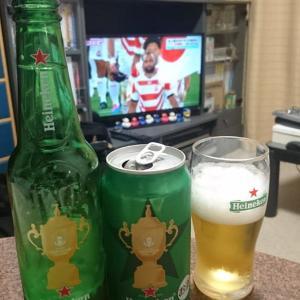 ハイネケン(2019RWC仕様)で祝杯