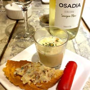 クワトロさんで白のボトルワインと「豚タンマリネ&しらすの和風パスタ」