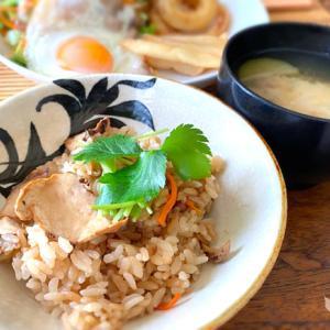 松茸ご飯とナスのお味噌汁付き「ポークエッグプレート」
