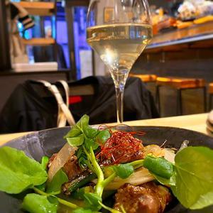 澄吉さんで日本酒と「菊いも揚げ浸し・春菊と柿の白和え・宇和島じゃこ天」