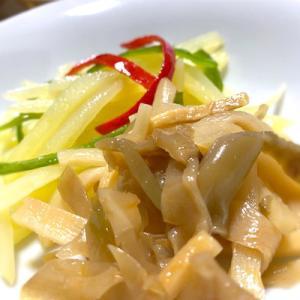 おうち中華で乾杯「ニラ饅頭・土豆絲・搾菜・茹でピーナッツ」