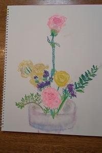小3女子のパステル画 いけ花