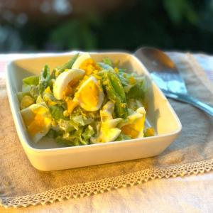 「スナップエンドウと茹で卵のノンオイルヨーグルトサラダ」