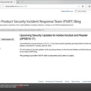 今日はAdobe関係 Adobe、「Acrobat DC」「Acrobat Reader DC」のセキュリティアップデートを予告