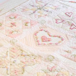 リボン刺しゅうで可愛いミニバラのハートリース完成〜&マイパッチワークボード作り!!