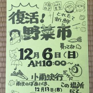 大好評!! 次の野菜市は 12月6日 (日) に市内こぶし町で開催します...☆彡