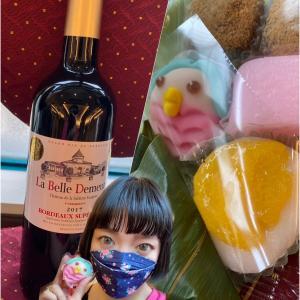 夏の和菓子♡ボルドーの赤ワイン♡