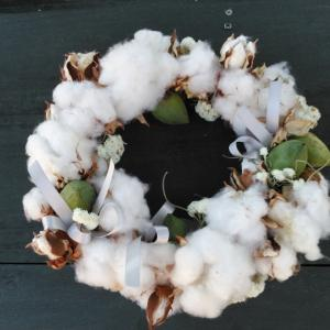 私の作品。 綿のリース。