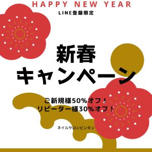 今年はおトク!!! 新春キャンペーン!!! 所沢狭山ヶ丘・入間・狭山ネイルサロン