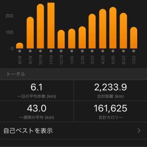 7月は132kmかぁ…