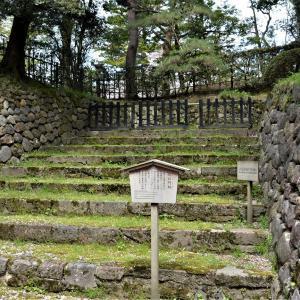 廣坂と兼六園川口門跡周辺の石垣がある景色