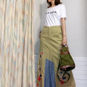 刺繍ロゴTとリメイクスカートでご近所コーデ♪