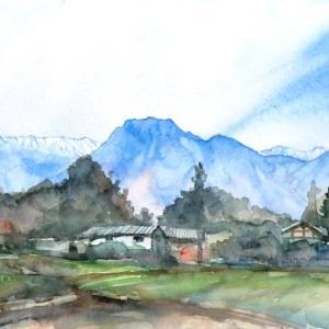 有明山と北アルプス