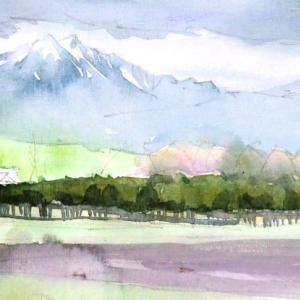 牧場と八ヶ岳