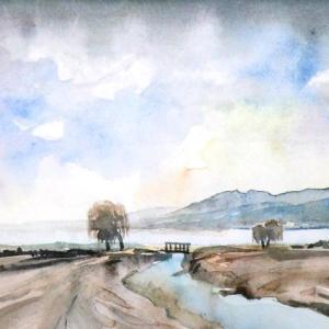 諏訪湖と柳