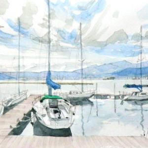 諏訪湖のヨットハーバー