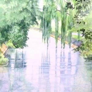 小雨に濡れる拾ヶ堰